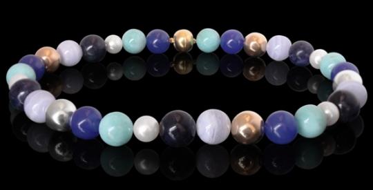 Halskette - Perle, aquafarbene Edelsteine