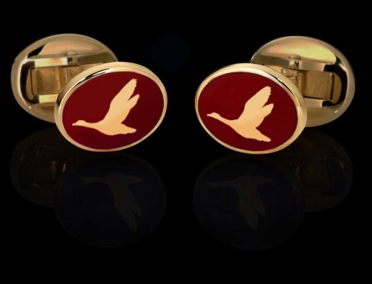 Manschettenknöpfe - goldene Ente auf Rot