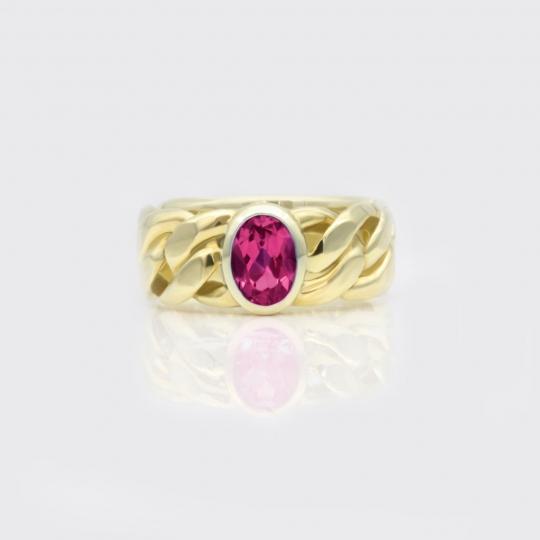 Kettenring - Gelbgold, pink Turmalin