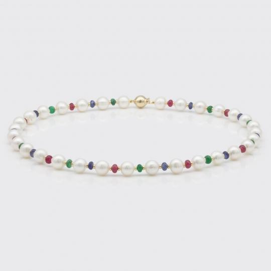 Halskette - Süßwasserperlen, Saphir, Rubin, Smaragd