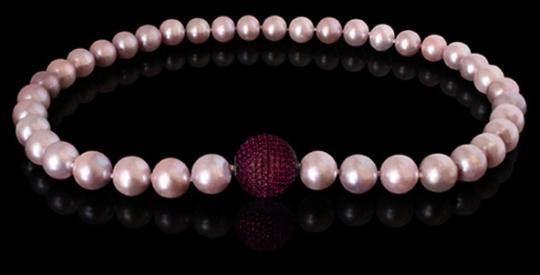 Halskette - Süßwasserperle rosé, Wechselschließe