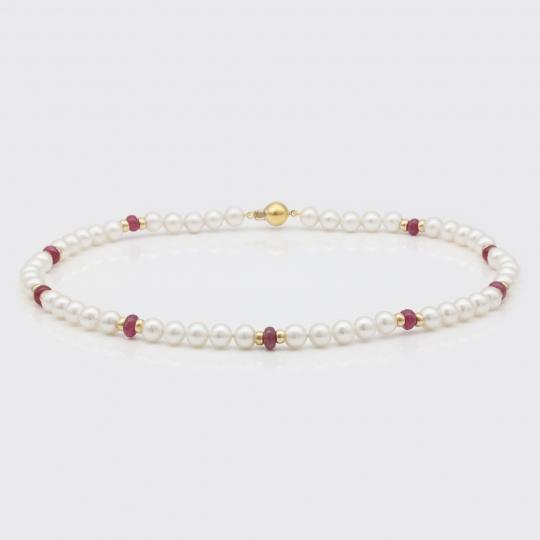 Halskette - Süßwasserperlen, Rubin, Gold