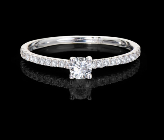 Brillantring - Memoire, Mittelstein (0,2ct.)