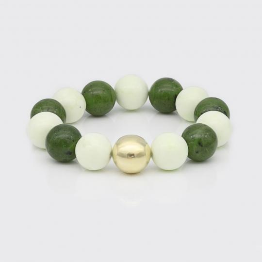 Armband - Nephrit, Zitronenchrysopras