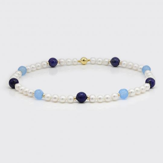 Halskette - Süßwasserperlen, Lapis Lazuli, Chalcedon